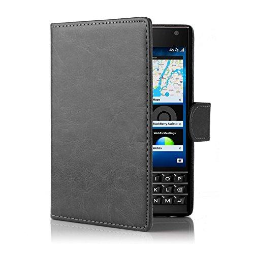 32nd® Funda Flip Carcasa de Piel Tipo Billetera para Blackberry Passport con Tapa y Cierre Magnético y Tarjetero - Negro