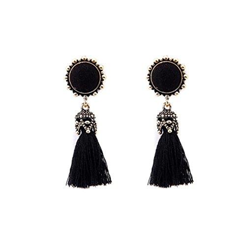 Fossrn Mujer Pendientes Largos Flecos Borla Estilo Vintage Cristal de pedrería Earrings Joyería de Moda