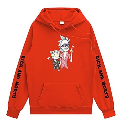 Sudadera con capucha de la sudadera con capucha y mortría de Morty Hip Hop Streetwear Ropa Divertida dibujos animados Puente gráfico para hombres y damas,Naranja,3XL