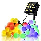 SUNNEST Guirlande Lumineuse Solaire Multicolore, 8M, 60 LEDs Ampoules, 8 Modes...