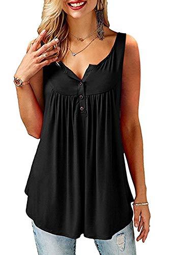 AMORETU T-Shirt Damen V-Ausschnitt Knopfleiste Bluse Solide Tunika Sommer Tops , Tanktop -Schwarz, M/DE 42-44