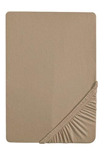 biberna 0077144 Feinjersey Spannbetttuch (Matratzenhöhe max. 22 cm) (Baumwolle) 90x190 cm -> 100x200 cm, taupe