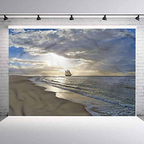 8x8FT Vinyl Backdrop Photographer,Nautical,Sailing Ship at Sunset Background for Baby Birthday Party Wedding Studio Props Photography
