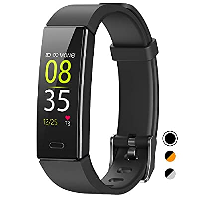 QOOGOT Fitness Tracker,IP68 Waterproof Activity Tracker with Blood Pressure Heart Rate Sleep Monitor for Men Women Kids,11 Sport Modes Health Smart Watch with Step Counter for Fitbit Android iOS Black
