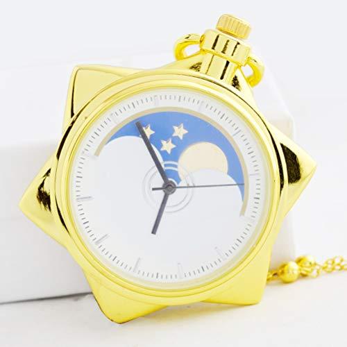MEIEI Reloj de bolsillo de cuarzo, Reloj de bolsillo de estudiante al por mayor Reloj de bolsillo de cinco puntas de Star Girl Soldier, Reloj de bolsillo de niños de dibujos animados Collar de cinco p