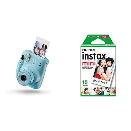 Instax Mini 11 - Cámara instantánea, Sky Blue + Fujifilm Instax Mini Brillo Película fotográfica instantánea (10 Hojas)