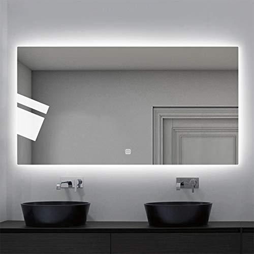 JHNEA Espejo Baño Espejo de Pared, Espejo Colgante Dormitorio Función Antivaho con Luz LED Interruptor Táctil 3 Temperatura de Color Ajustable para Baño Dormitorio Salón,White Light_24x32inch