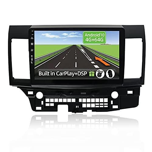 YUNTX Android 10 2 Din Autoradio per Mitsubishi LANCER(2010-2016)-4G+64G-[Integrato CarPlay/Android auto/DSP]-Gratuiti LED Camera-Supporto DAB/Controllo del Volante/360 Camera/MirrorLink/Bluetooth 5.0