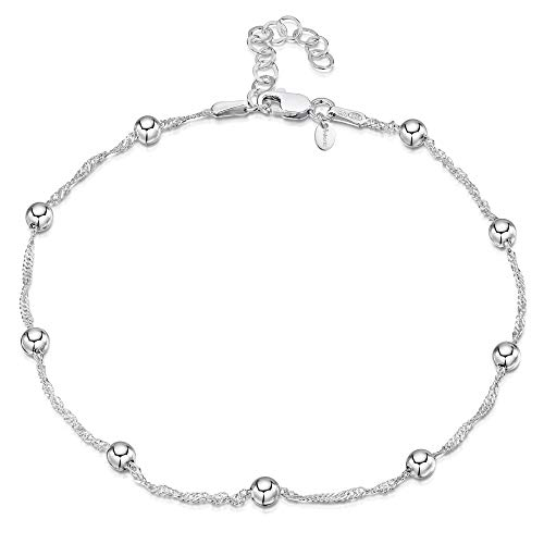 925 Fine Sterling Silver 1.4 mm Adjustable Anklet - Singapore Chain with 4 mm Ball Beads Ankle Bracelet - 9' to 10' inch - Flexible Fit
