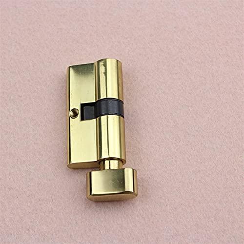 MuNaDuo Cerradura cilíndrica de latón chapado en oro, cerradura de puerta de cilindro para dormitorio (color: bronce, tamaño del cilindro: 70 mm)