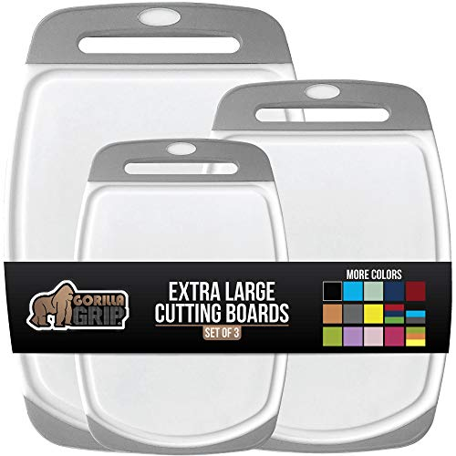 Gorilla Grip Original Oversized Cutting Board, 3 Piece, Perfect for the Dishwasher, Juice Grooves, Larger Thicker Boards, Easy Grip Handle, Non Porous, Extra Large, Kitchen, Set of 3, Gray