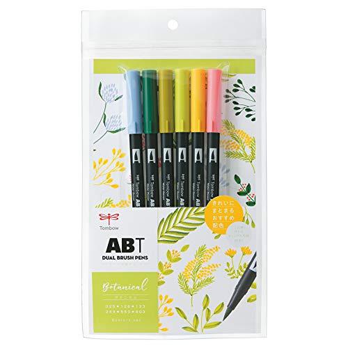 トンボ鉛筆 筆ペン デュアルブラッシュペン ABT 6色セット ボタニカル AB-T6CBT