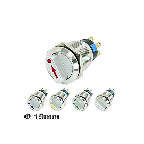 19 mm 2 de 3 posiciones metal selector giratorio interruptor con bloqueo de botón interruptor SPDT con el interruptor iluminado por LED 12V,Rotary switch,12V White LED 2 positions