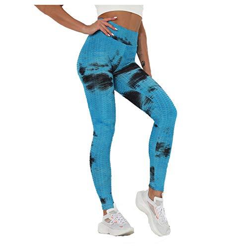 Btruely Leggings Deportivos sin Costuras Mujer Mallas Push Up Cintura Alta Yoga Leggins Pantalón poliéster Pantalones Deporte para Correr Fitness Elásticos y Transpirables (Azul, L)