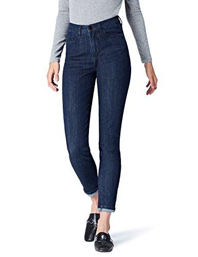 Amazon-Marke: find. Damen Skinny Jeans mit hohem Bund, Blau (Indigo), Large (32W / 32L)