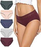Cotton Underwear for Women Bikini Panties Hipster Underpants Lace Briefs 5-Pack(Dark3,L)