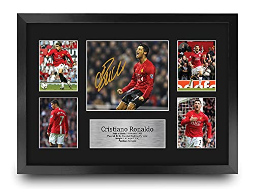 HWC Trading FR A3 Cristiano Ronaldo Manchester United Man Utd Gifts Printed Signed Autograph Picture for Football Fans and Supporters - A3 Framed