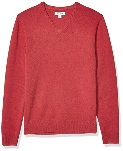 Amazon Brand - Goodthreads Men's Lambswool V-Neck Sweater, Washed Red Small