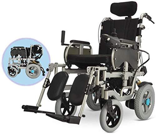 Elektrorollstuhl Elektrorollstuhl mit verstellbarer Pedalhalterung Hohe Rückenlehne Kopfstütze Elektrorollstuhl Zusammenklappbar Tragbarer Rollstuhl auf Rädern Sitzbreite...