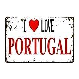 RXsXianR Letrero de metal con texto 'I Love Portugal, centro comercial, dormitorio, hotel, pub, parque, fiesta, granja, café, hierro pintura 20 x 30 cm
