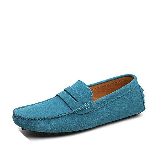 Size 49 Men Casual Shoes Fashion Men Shoes Genuine Leather Men Loafers Moccasins Slip On Men's Flats Male Driving Shoes,01 Sky Blue,13