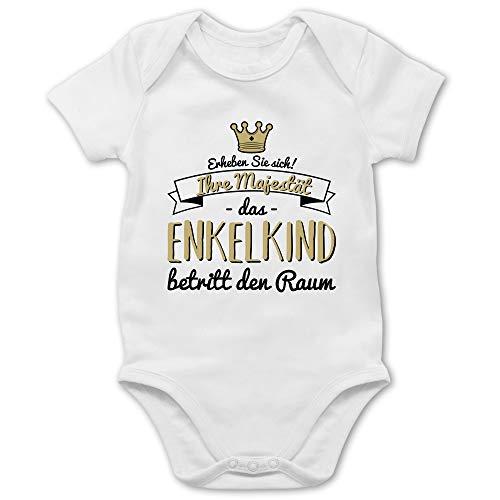 Shirtracer Sprüche Baby - Ihre Majestät das Enkelkind betritt den Raum - 3/6 Monate - Weiß - Baby+Strampler+sprüche+Opa - BZ10 - Baby Body Kurzarm für Jungen und Mädchen
