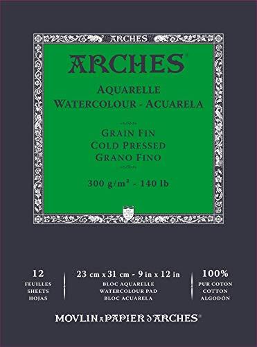 ARCHES- Bloc Enc 23x31 12H Aquarelle 100% Fino 300g Blanc Nat (A1795092)