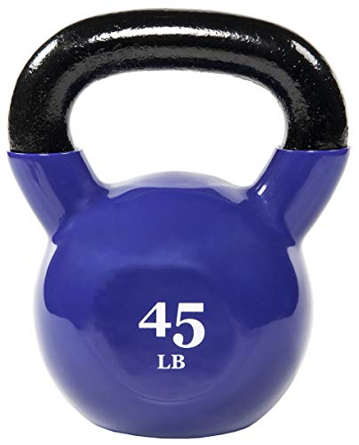 Everyday Essentials All-Purpose Color Vinyl Coated Kettlebell, 45 Pounds