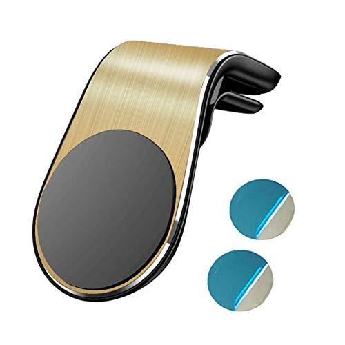 UKKD Soporte movil para Coche Soporte De Auto Magnética Rejilla De Ventilación En Forma De L para Mantener Titular del Teléfono Móvil del GPS De Coche para El iPhone Samsung,Oro