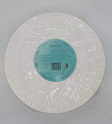 MALEBE B2K Plato papel blanco pack 100 unidades 9'/23cm blanco 250gr desechable. Celebraciones, fiestas, aperitivo, snack, postres...