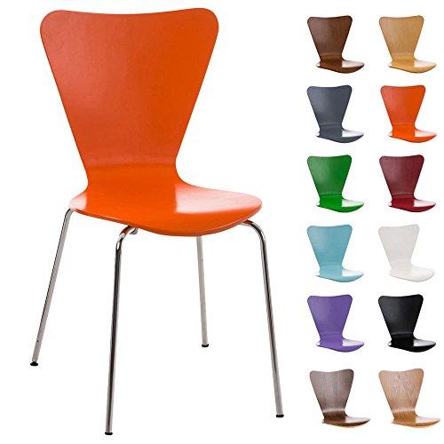 CLP Konferenzstuhl Calisto mit Holzsitz und stabilem Metallgestell I Platzsparender Stuhl mit Einer Sitzhöhe von: 45 cm Grau