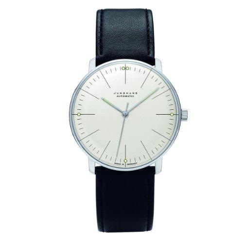 Junghans Herren-Armbanduhr XL Max Bill Automatic Analog Automatik Leder 027/3501.00