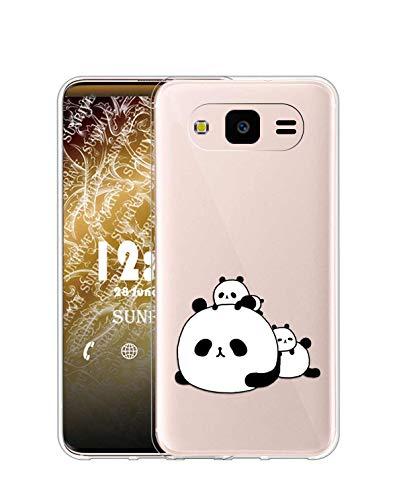 Sunrive Cover per Samsung Galaxy J1 2015, Custodia Case in Molle Trasparente Silicone Morbida Flessibile AntiGraffio Protettiva Back custodie(TPU Panda 6)