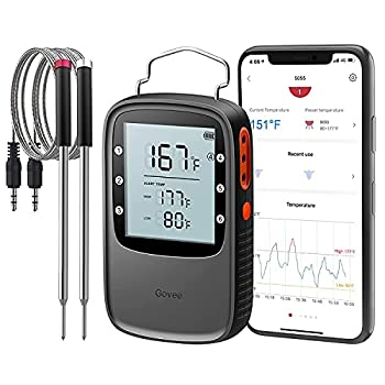 Govee Bluetooth Meat Thermometer Smart Grill Thermometer 196ft Remote Monitor Large Backlight Screen Alarm Notification for Smoker BBQ Oven Kitchen Candy