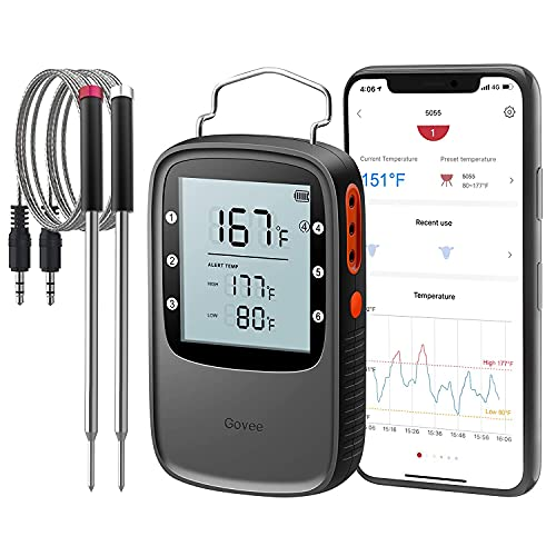 Govee Bluetooth Meat Thermometer, Smart Grill Thermometer, 196ft Remote Monitor, Large Backlight...