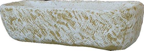 DEGARDEN Jardinera Rectangular Rústica Exterior Fabricada en hormigón-Piedra | Macetero Bebedero Decorativo Pila de Piedra Artificial Exterior Jardín 100X41X27cm.
