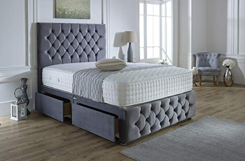 ComfoRest, Bedding & Upholstery Innovation Leader Steel Plush Velvet Ibex Plus Divan Set With 54' Ibex Headboard, 4 Tac 1000 Pocket Mattress And 2 Drawers (4FT - Small Double)