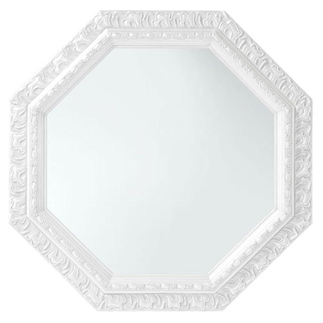 肘マージボトルネックぼん家具 鏡 壁掛け 八角形 ミラー アンティーク調 51.5×51.5cm かがみ ホワイト