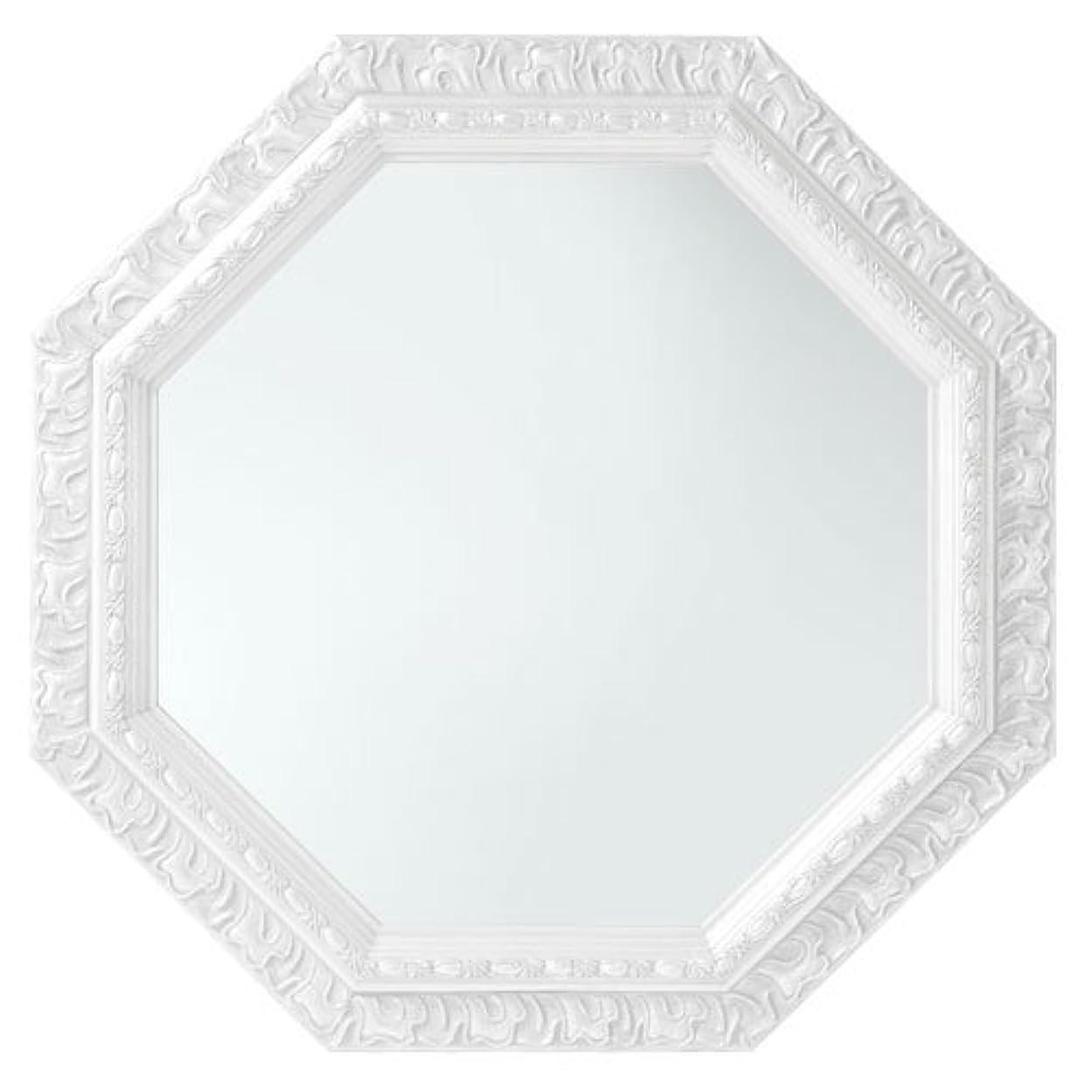 下向き下るドラフトぼん家具 鏡 壁掛け 八角形 ミラー アンティーク調 51.5×51.5cm かがみ ホワイト