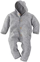 Engel Merino Wool Organic Fleece Baby Newborn Romper Hooded Footed (6-12 Mon, Light Grey)