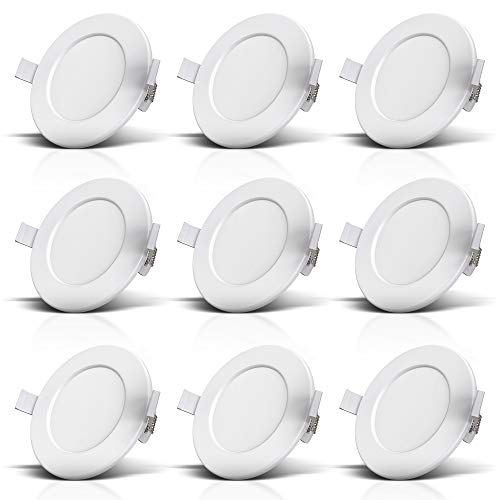 B.K.Licht I 9er Set LED Lámparas empotrables de baño I Ultra plano 30mm I Ø115mm I Blanco I 9 x 6W LED boards I 450 Lumen I 3.000K blanco cálido I IP44 I Foco empotrable de baño
