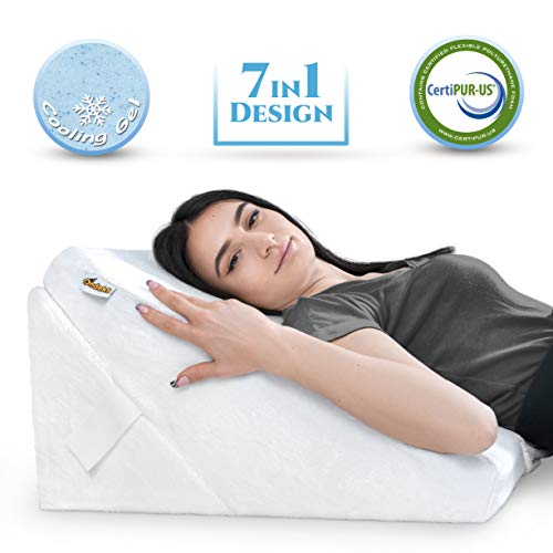 Bed Wedge Pillow – Multipurpose Adjustable Leg Support Pillow – Cooling Gel Memory Foam Top - Helps for Acid Reflux Heartburn, Allergies, Snoring - Machine Washable Soft Plush Cover with Handle, White