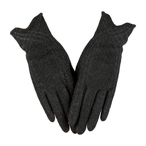 Nappaglo Winter Handschuhe Damen Warm Fleece Innenfutter Outdoor Fahren Handschuhe (Large, Schwarz)