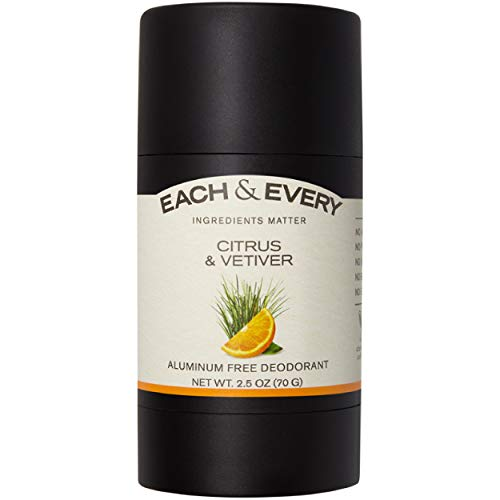 Each & Every Natural 2.5oz Deodorant for Men and Women, Non-Toxic, Aluminum Free, Baking Soda Free, Paraben Free, Vegan, Cruelty Free, Made with Essential Oils, Citrus & Vetiver
