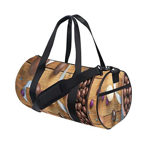 ZOMOY Sporttasche,Köstliche Schokolade mit Ei Band Holztisch Feiertags Vorbereitung,Neue Bedruckte Eimer Sporttasche Fitness Taschen Reisetasche Gepäck Leinwand Handtasche