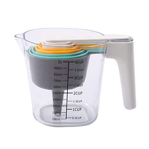 Juego de cucharas medidoras de 9 piezas, jarra de medición con embudo raspador de plástico para cocinar utensilios de cocina