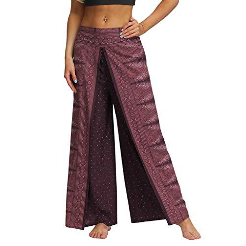 Lazzboy Rauen Beiläufige Sommer Lose Yoga Hosen Baggy Boho Jumpsuit Pants Damen Elegant(Wein,L)