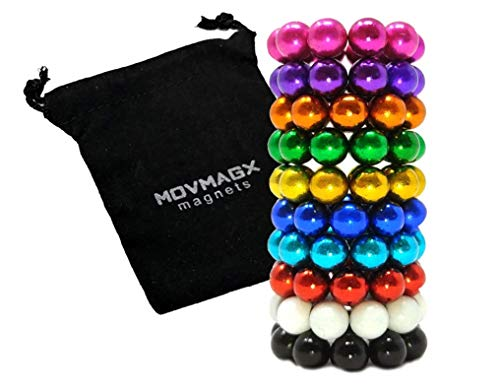 movmagx 100 bolas magnéticas para oficina, 5 mm, incluye bolsa de terciopelo [10 colores]