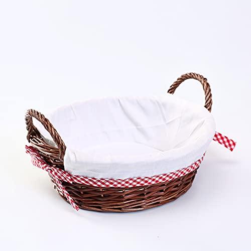 woodluv Round Wicker Hamper Basket With White Lining 33x29CM