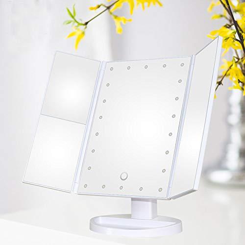 XiaoDong1 LED Espejo de Maquillaje Tres Lados Plegable HD Touch Lupa Espejo Triple Vestidor de luz Espejo Iluminado Espejo de Vestir de Escritorio (Color : White)